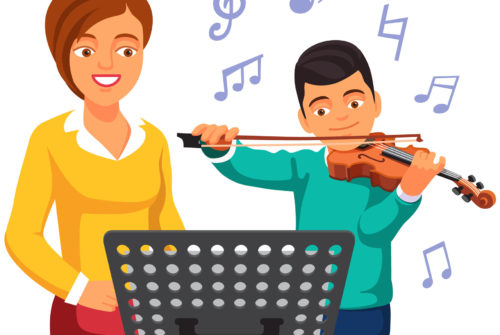 Musical tutor woman teaching and practicing with kid boy violin student. Flat style vector illustration isolated on white background.
